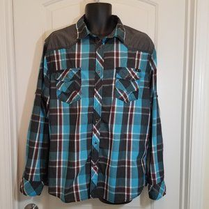 Rock & Republic Blue/Black/Gray/White Plaid Shirt